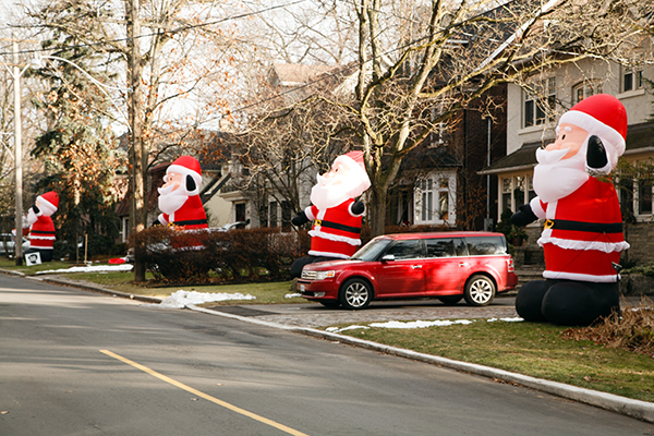 Giant Santa Clauses on Inglewood Drive.