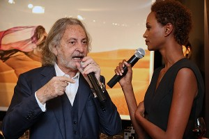 Marco Glaviano and supermodel Yasmin Warsame during the launch of his exhibition at the Izzy Gallery in Yorkville.