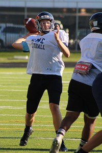 THROWIN' SMOKE: St. Michael's Kerry Blues go through goal line scoring drills during a practice, Sept. 17.