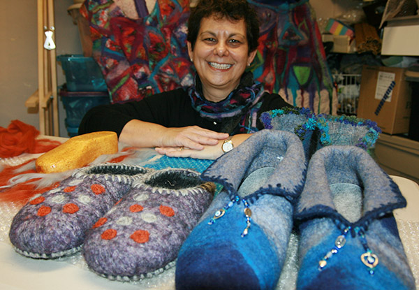 FELT PRETTY GOOD: Cedarvale's Brenda Redinger makes several products out of felt and has been selling them for the last three years.