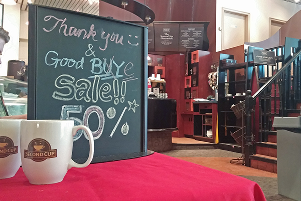 Second Cup store's sign saying goodbye