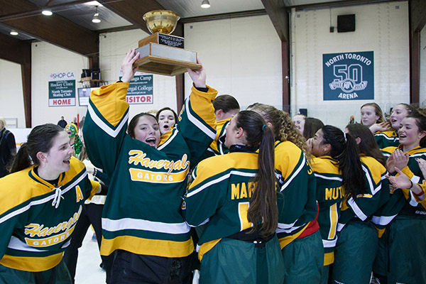 LOFTY GOALS: Havergal players celebrate winning the Hewitt Cup after their Hockey Day competition with Bishop Strachan girls.