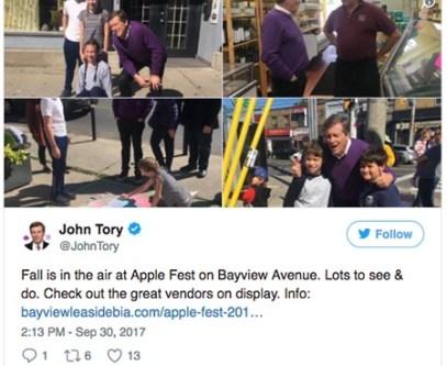 John Tory at Apple Festival.