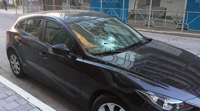 Windshield shattered by vandalism