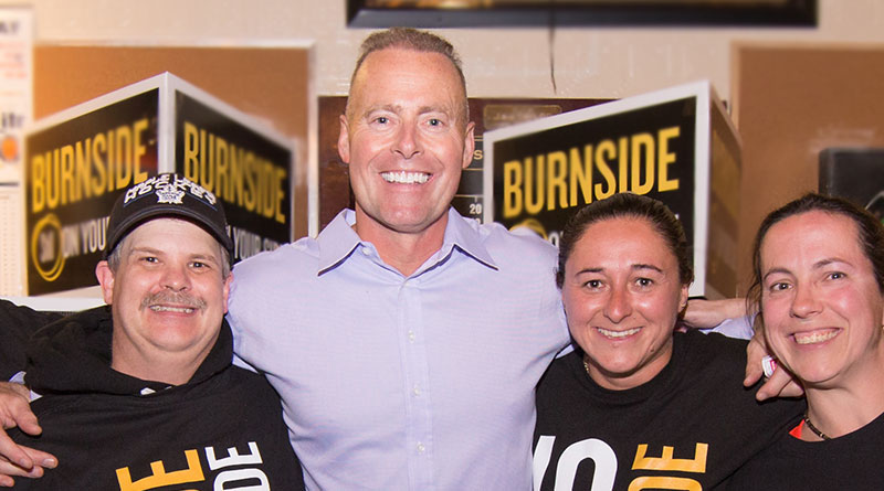 Burnside at his party in Don Valley West