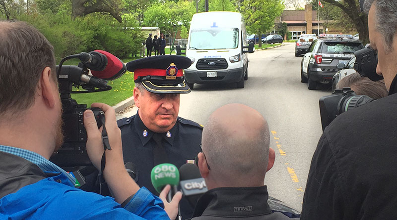 Insp. Gotell talks to press in Bennington Heights.