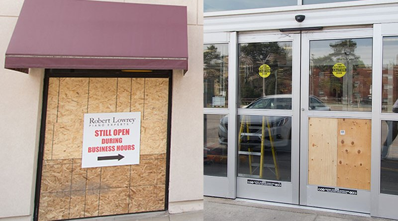 Storefronts smashed by driver