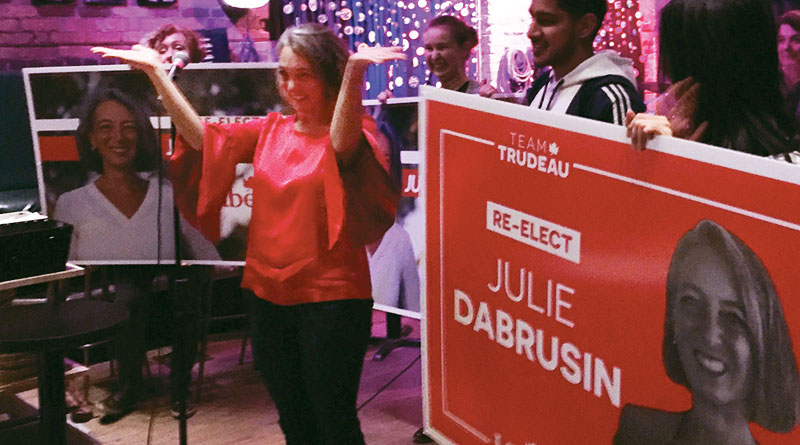 Julie Dabrusin at victory party