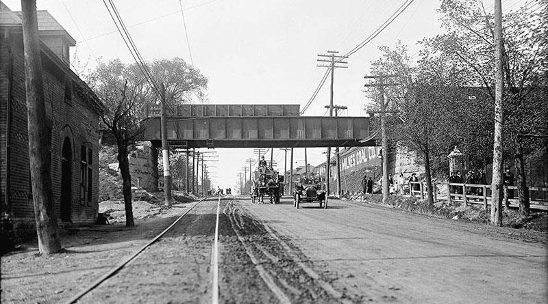 Beltline bridge over Yonge Street ion 1915