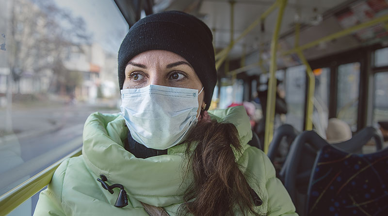 Medical mask on bus