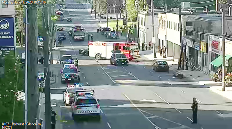 Motorcyclist accident scene