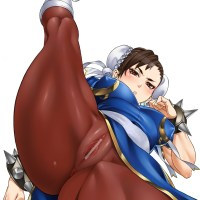 Chun Li flashing her tight cunt with hard clit