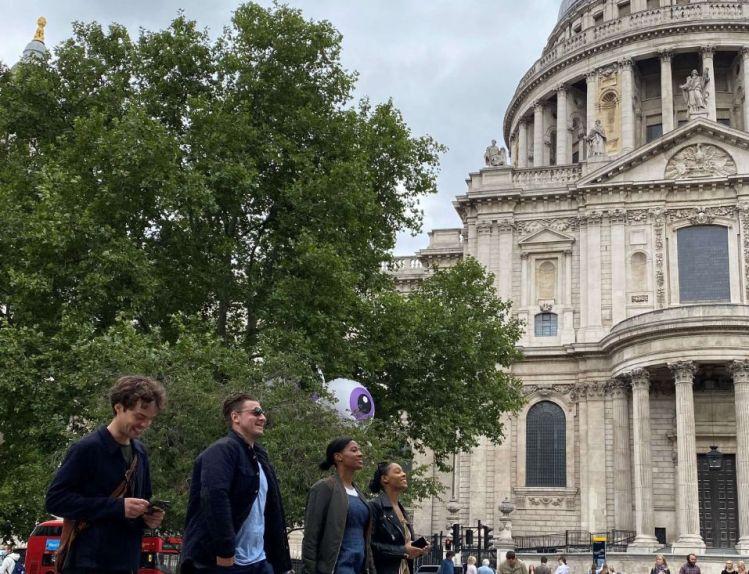 Team enjoying exploring London