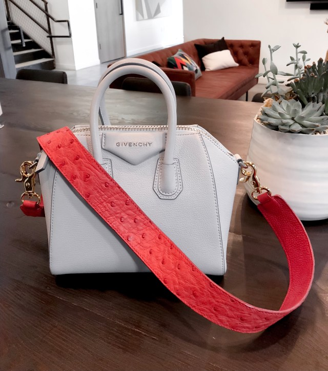 baby blue givenchy antigona handbag with red strap