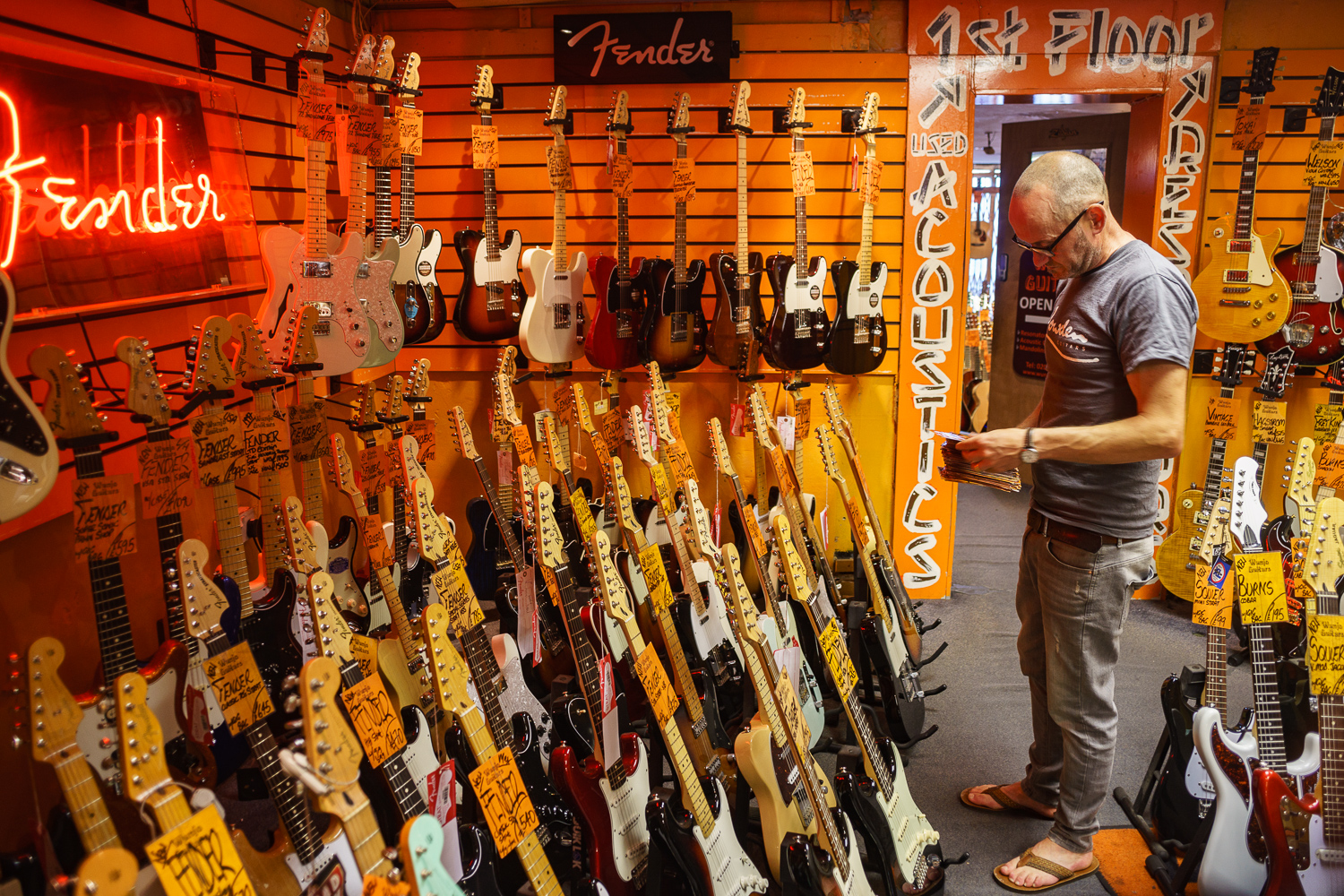 Photo: Brian Rowe checks Fender prices in Wunjo Guitars