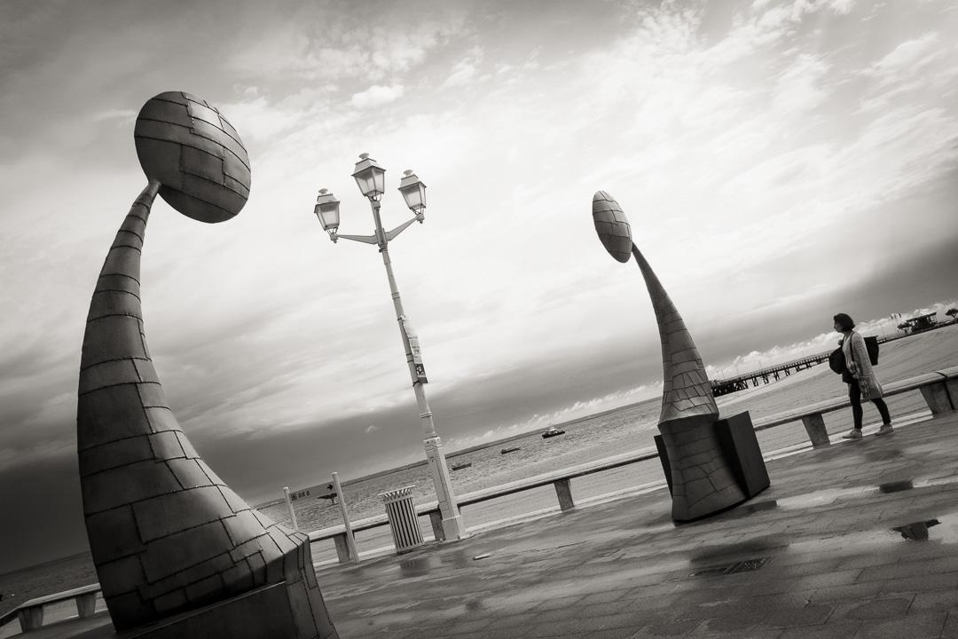 Opération Arcachon photos sur la jetée Thiers avec les scultures de Christian Cébé