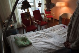 Danas empty patient's room after vigil of her death body by friends and family members. Dana succeeded in uniting very different people and in creating a circle of friends who carried her to end.