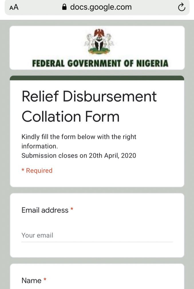 Federal government Relief Disbursement Collation Form is a Scam