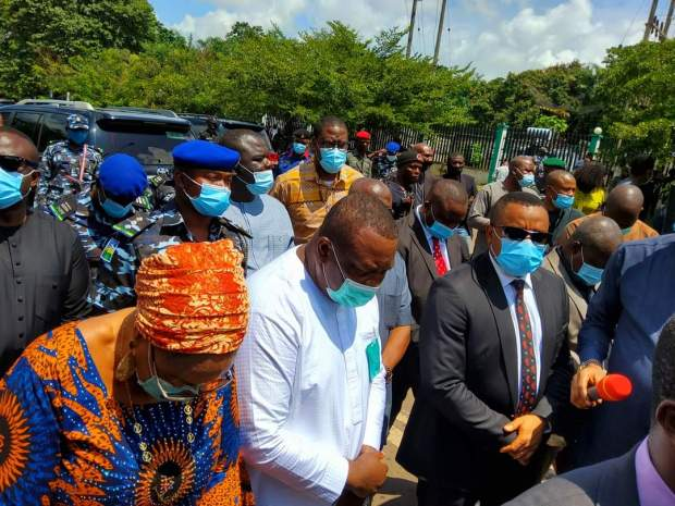 Gov. Ugwuanyi Addresses Protesters, Calls for a Minute Silence for Departed Souls