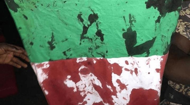 Shot EndSARS advocate Lekki Massacre Stain Nigerian Flag