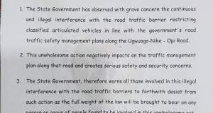Enugu Govt Warns Against Interference with Road Traffic Barriers 1
