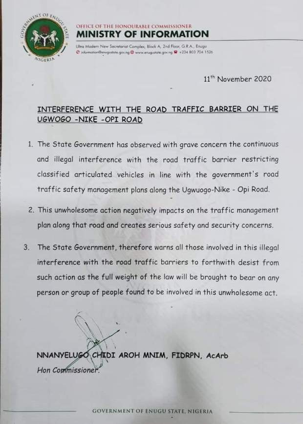 Enugu Govt Warns Against Interference with Road Traffic Barriers