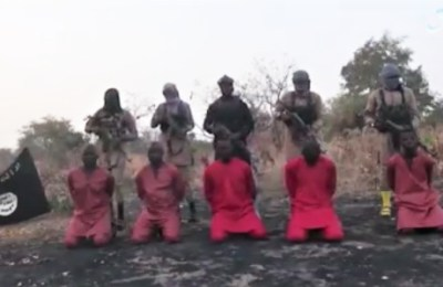 Screenshot of video released by Islamic State Showing execution of five Christians
