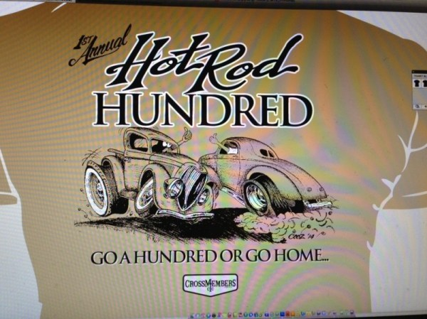 The 1st Annual Hot Rod Hundred T-Shirt design, by Dave Cooz Cusimano.