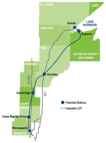 Planned route of the Northern Lights Express train from Minneapolis to Duluth.