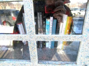 A sidewalk library in St Paul.
