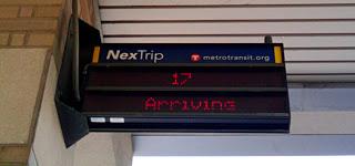 NexTrip display at the Uptown Transit Station.
