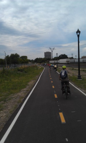 Dinkytown Greenway behind a parking lot