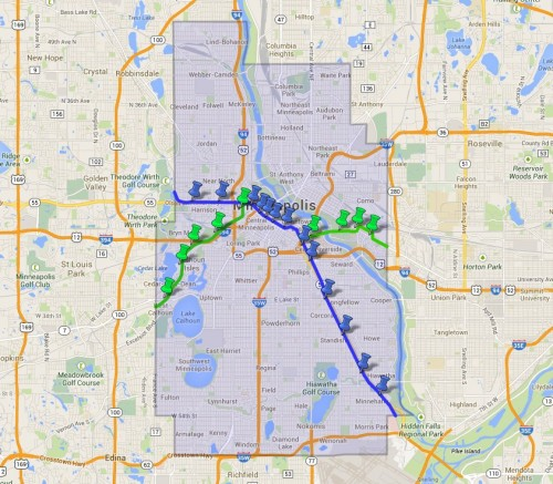 Map of the proposed Hiawatha, Central, Southwest, and Bottineau lines and stations planned for the city of Minneapolis.