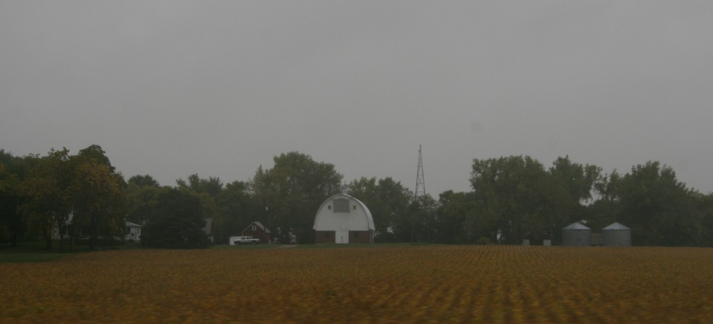 Grey skies and rain set the mood along U.S. Highway 14 between Sleepy Eye and Lamberton.