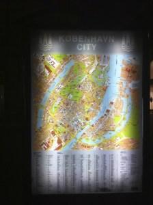 Local street map kiosk in Copenhagen