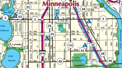 Hennepin county roads in Minneapolis.