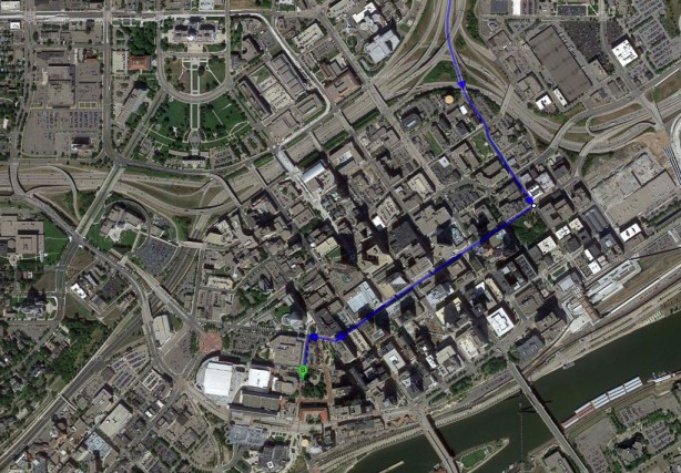 Going to the Ordway via 11 blocks of downtown streets.