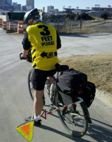 Across the U.S., cyclists think that they need all kinds of gook to help protect them from cars, even when they're riding on roads with the protection of painted lines and sharrows. With good infrastructure, people in St Paul wont' feel like they need any special hi-viz jersey's, multiple flashing lights, warning flags sticking out, amour, air horns, or cameras to catch the scowflouws that buzz them.