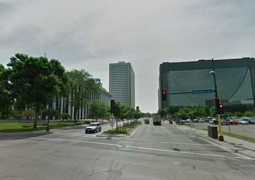 LOOKING EAST ON WASHINGTON AVENUE FROM HENNEPIN AVENUE now
