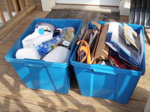 recycle bins ready for pick up