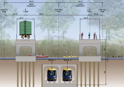 A shallow tunnel proposal for the Green Line Extension. Streets.mn file.