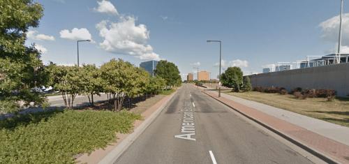 American Boulevard's innovative pedestrian treatment