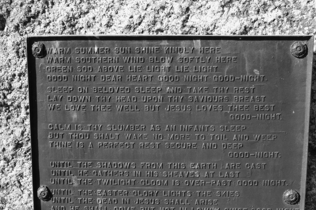 Words to ponder in a cemetery in Thielman.