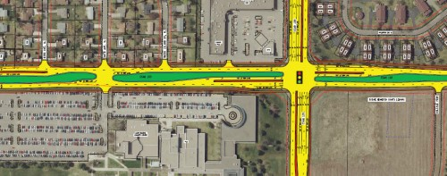 Proposed stroad would consume between 11 and 28 residences.