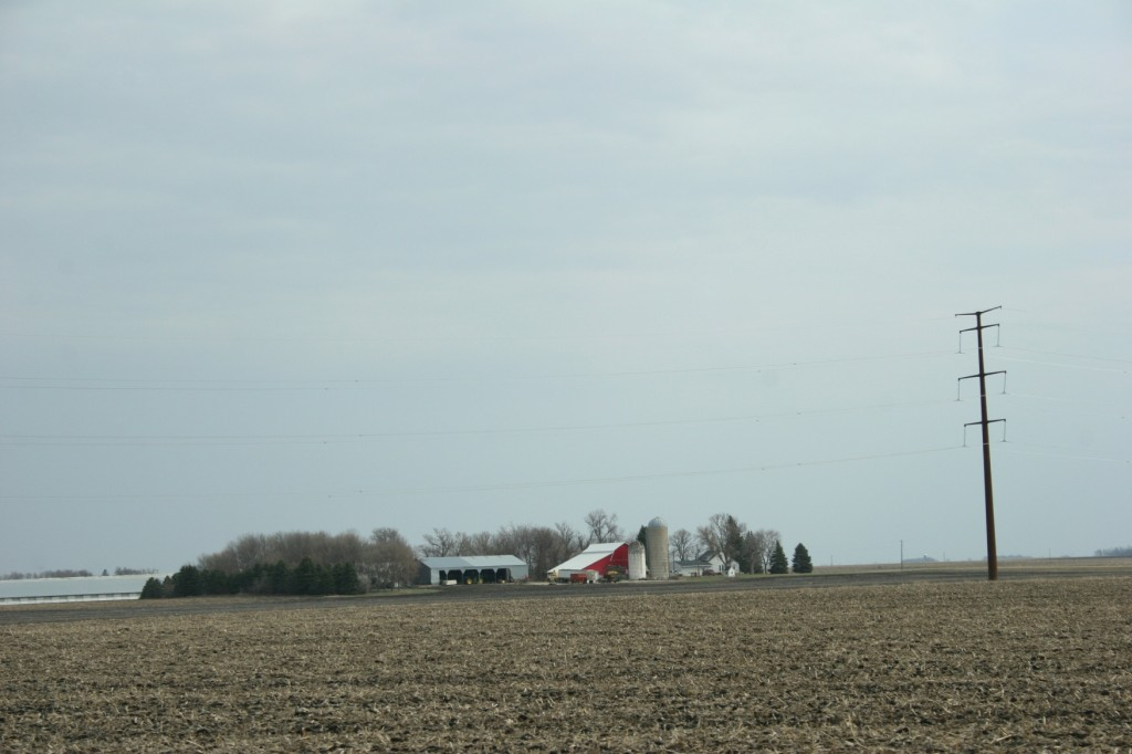 A farm site along Minnesota State Highway 67 dwarfed by a new transmission power pole.