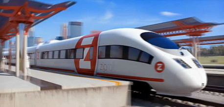 Promotional rendering of a Zip Rail train