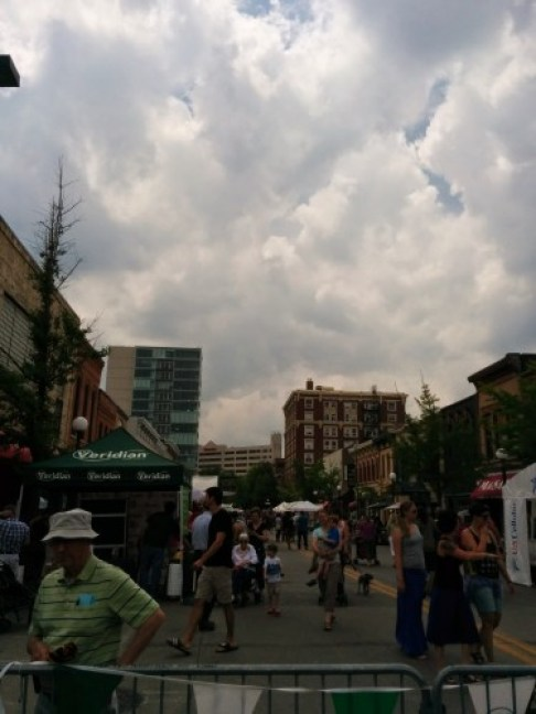 A regular June art fair in Iowa City. Also, two tall buildings, one old one new - the place survived!