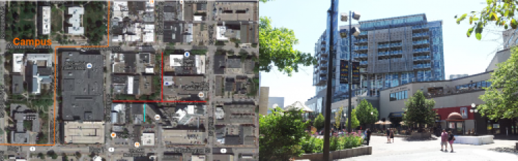 Left: Ped Mall location (Google Maps). Right: Least great shot of the pedestrian mall.
