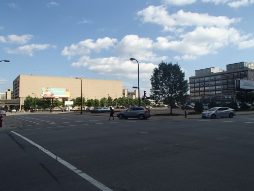 Hennepin County Medical Center has a parking ramp which features an eight story tall, block-long wall
