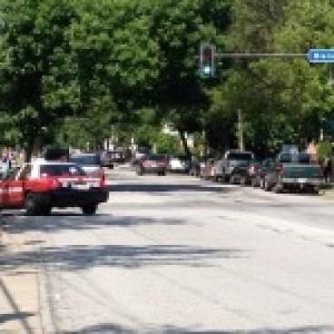 Street narrowing at Blaisdell. And look! Another sidewalk biker